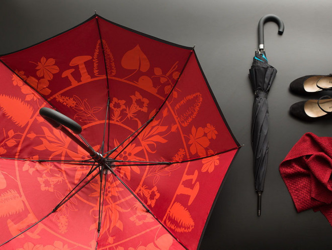 Umbrella - Flora circle – red